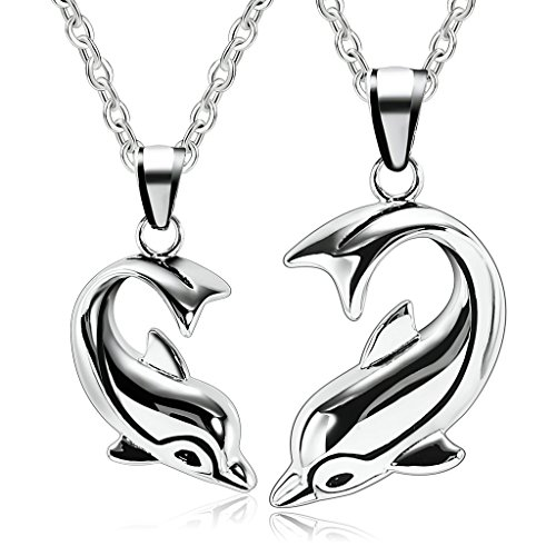 Adisaer Stainless Steel Pendant Necklace for Couples 1PCS Dolphin of Love Wedding Necklaces
