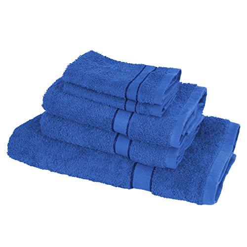 TERRYLAND Frottee Handtuch-Set - 2 Waschlappen, 2 Handtücher, 1 Duschtuch - 100% Baumwolle, OekoTex 100 - Farbe: Princess Blue