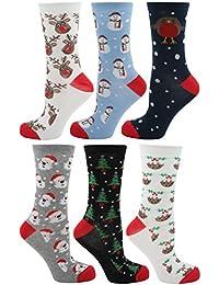 Zest 6 Pack Cotton Rich Ladies Festive Christmas Socks