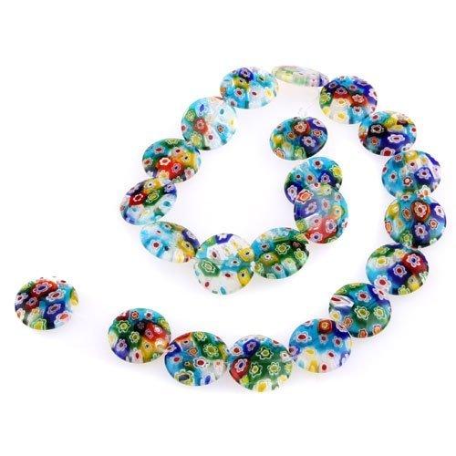 SODIAL(R) Hilo Cuenta Abalorio Cristal de Murano Flor multicolor