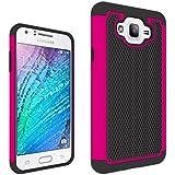 Samsung Galaxy J7 Funda, Resistente Impactos Armadura A Prueba de Choques Escudo Cáscara Dura 2in1 Combinación Bola Patrón para Samsung Galaxy J7 (Hot pink)