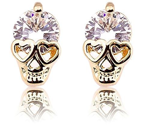 Women's Gold Tone white Diamond Skull Pierced Stud Earrings Halloween (white)