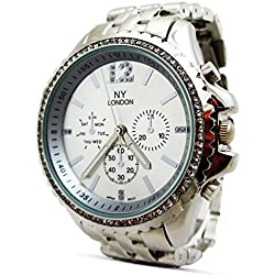 Branded Fashion Unique Mens Womens Unisex Wrist Watch at Discounted Sale Price - Silver Rhinestone Crystals Analog Dial Quartz