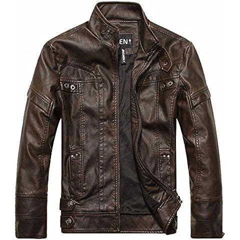 Lavado de moda hombre viejo Reino Unido stand estilo Collar de cuero moto coat CHAQUETA CREMALLERA,Brown,L