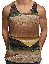 Vests d'entraînement de gym pour Hommes Débardeur imprimé Cheeseburger Fast Food Vêtements de vacances