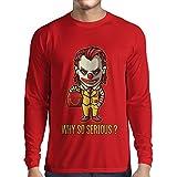N4443L Camiseta de Manga Larga Why So Serious? (X-Large Rojo