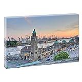 Hamburg Landungsbrücken | V1720473 | Bilder auf Leinwand | Wandbild im XXL Format | Kunstdruck in 120 cm x 80 cm | Bild Elbe Hafen Alster HH Hansestadt
