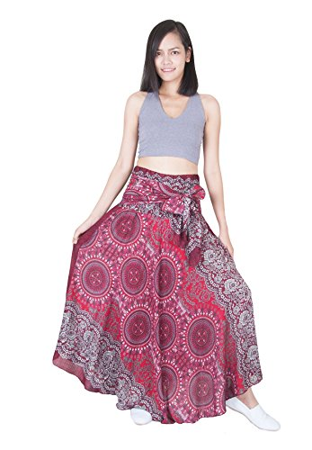 Lofbaz Damen Bohemien Hüfte Langer Rock Süße Hippie Style Blumen Design #1 Weinrote Einheitsgröße (Designs Bluse Rock)