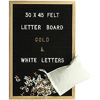 Gadgy Fieltro Letter Board 30x45 cm   Retro Tablero de Letras de Madera   Pizarra con 680 Letras & Numeros Blancos y Color Dorado con Bolsa