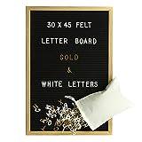 Gadgy Feltro Letter Board 30x45 cm | Retro Lavagna con Lettere di Legno | Con 680 Lettere & Numeri Bianco e Oro Colorato con Borsa