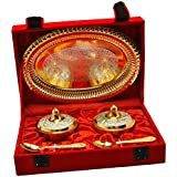 Handicraft Hub India Brass Antique Designer Mouth Freshener Bowl And Tray Set Of 5 Pcs Silver And Gold