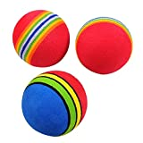 Dog Ball, 3 Pack Pet Toys FAVOLOOK 3.5cm Soft Small Rainbow EVA Tennis Golf Ball for Puppy Dogs Cat Treat Launcher Thrower Training Play Excersie (Random Color)