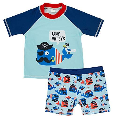 der Jungen Zweiteilige Badeanzüge Kinder Cartoon Tier Rashguard Bademode Set Beach Sport Badeanzüge Kurzarm T-Shirt Top mit Trunk Shorts (Farbe : 3, Größe : 5T) ()