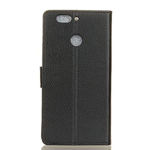 Solid Color Litchi Hautmuster Faux Ledertasche, Retro Folio Stand Case mit weichen Back Cover Geldbörse Tasche mit Card Slots für Huawei Nova 2 Plus ( Color : Rose ) Black
