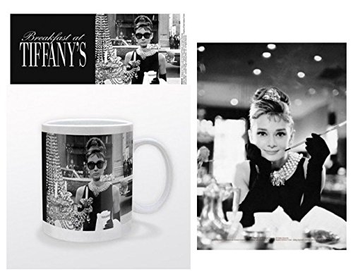 Set: Audrey Hepburn, Tiffany Schaufenster Foto-Tasse Kaffeetasse (9x8 cm) Inklusive 1 Audrey Hepburn Postkarte (15x10 cm)
