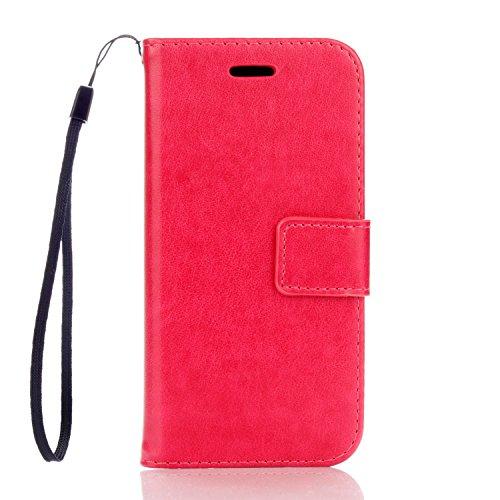 Funda iPhone 7 (4,7 zoll) Case , Ecoway PU Leather Cuero Suave Cover Con Flip Case TPU Gel Silicona,Cierre Magnético,Función de Soporte,Billetera con Tapa para Tarjetas ,Carcasa Para iPhone 7 (4,7 zoll) - Rose Red