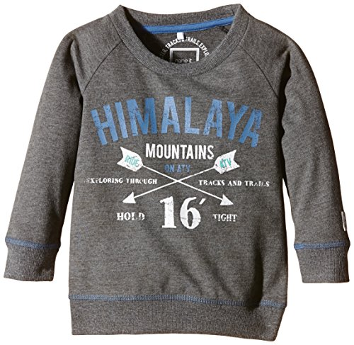 NAME IT Jungen Sweatshirt NITOLIVERSON M SWEAT TOP 615, mit Print, Gr. 86, Grau (Dark Grey Melange)