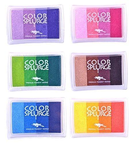 Set da 6 tamponi per timbri in gomma con inchiostro arcobaleno,per fai da te e uso su carta,legno,tessuti