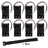 KEESIN 9V Custodia per batterie Custodia per batterie in plastica con conduttori e fascette autoadesive (8 pezzi)