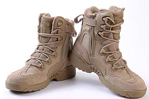Herren Stiefel Trekking Wandern Schuhe Leder Outdoor Schuhe Komfortable und langlebige Militär Stiefel Khaki