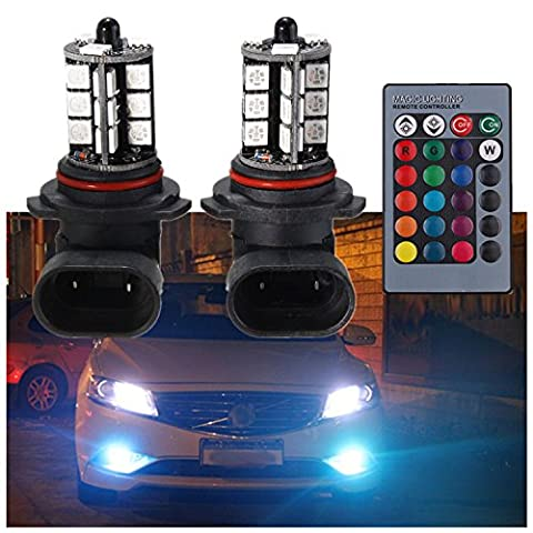 FEZZ Auto LED Nebelscheinwerfer Nebellampe Birnen 9006 HB4 5050 27SMD RGB mit drahtloser Fernbedienung 7 Farbe 4 Modi