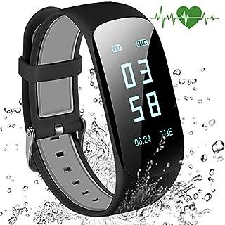 Abandship Bluetooth Fitness Armbänd mit Pulsmesser,Smart Fitness Tracker mit Herzfrequenzmesser, Schrittzähler, Schlaf-Monitor, Aktivitätstracker, Remote Shoot, Anrufen / SMS, finden Telefon für (Black)