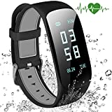 Braccialetto Fitness, Abandship Activity Tracker Cardio Pedometro Cardiofrequenzimetro Orologio Fitness Tracker Watch Band Smartwatch per iPhone Samsung Android iOS Smartphones (Black)