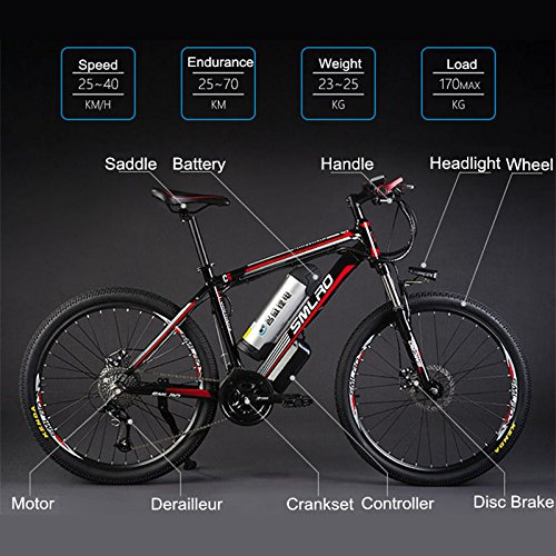 "51sZog9Rk L. SS500  - 26"" 48V Lithium Battery Aluminum Alloy Electric Assisted Bicycle, 27 Speed Electric Bike, MTB/Mountain Bike,adopt Oil Disc Brakes,Pedelec."