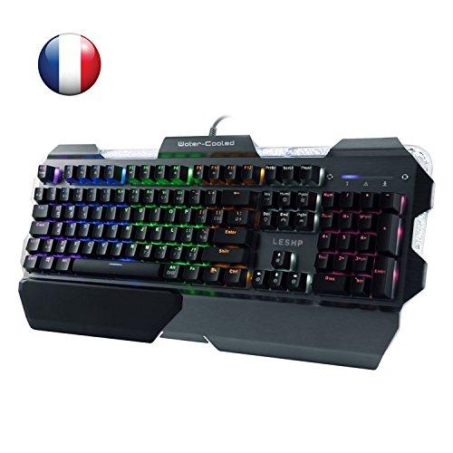 leshp Tastatur Gaming mechanisch, Tastatur Lavablasen von Flüssigkeit, Hintergrundbeleuchtung in 7Farben, Struktur Aluminium, AZERTY Französisch, Tastatur Gamer Gaming für PC MAC