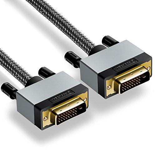 DVI auf DVI Kabel 2M, Posugear Nylon Geflochten DVI-D auf DVI-D Monitor Kabel, Dual Link 24+1, HDTV Auflösung bis 1920*1080, vergoldete Kontakte