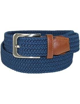 CTM para hombre Big & Tall elástica trenzado cinturón con hebilla plateada y marrón pestañas