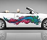 2x Seitendekor Drache 3D Autoaufkleber Digitaldruck Dragon Feuer Seite Auto Tuning bunt Aufkleber Rennstreifen Seitenstreifen Dekor Racing Autofolie Car Wrapping Motorrad LKW Decals Sticker Tribal Seitentribal CW013 Airbrush Carwrap, Größe LxB:ca 120x30cm