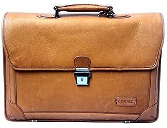 Tan Leather Laptop Briefcase by Cortez