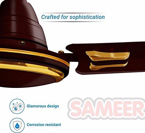 Sameer Jewel 48 Sparkling Gold 3 Blade Ceiling Fan- Gold/Brown