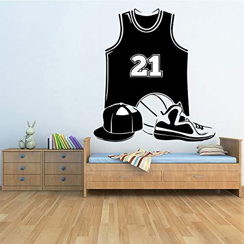 Ajcwhml Basketballausrüstung Wandaufkleber Wohnzimmer Schlafzimmer Wohnkultur Zubehör Zimmer wasserdichte Wandkunst Aufkleber Wandbild 58x63cm