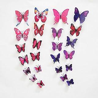 awakink 12PCS Rot und 12PCS Lila 3D Schmetterling Aufkleber Zufallsauswahl Home Dekoration abnehmbare Wandaufkleber Schmetterling für Kinder Zimmer Schlafzimmer Wohnzimmer