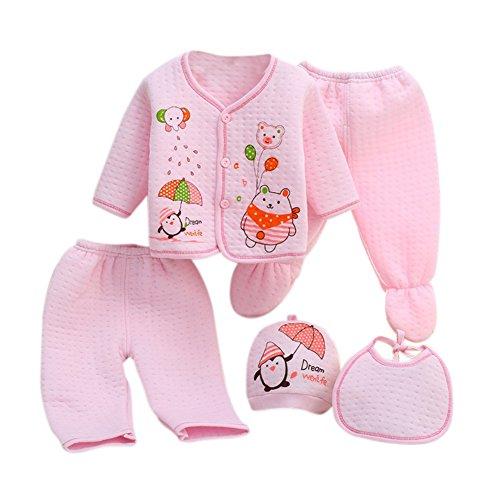 Neugeborenes Baby 5er Baumwolle Kleidung Set Essentials Bundle Caring Geschenk (Hut + Bib + Pyjamas Anzug + Hosen) 0-3 Monate (Pyjama-3 Monate)