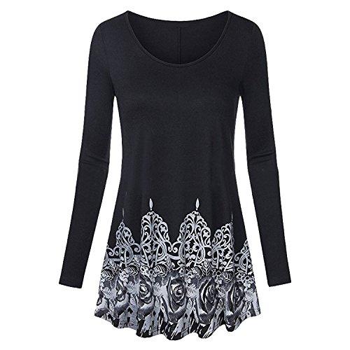 Petalum Pull Sweater Femme Imprimé Floral Col Rond Chaud Manches Longues Plissé Automne Hiver Mode Souple Basique Uni Casual Pull-over Sweat-shirt Top Noir