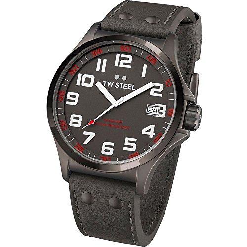 TW Steel TW420 - Reloj analógico de cuarzo unisex, correa de cuero color gris