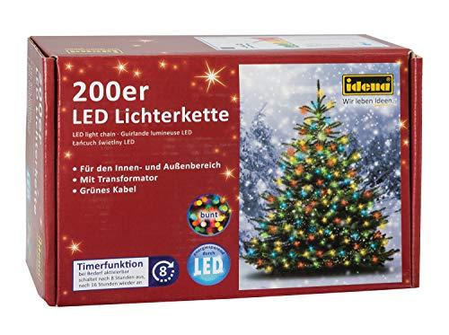 Idena 8325068 Guirlande lumineuse d'extérieur multicolore 200 ampoules LED