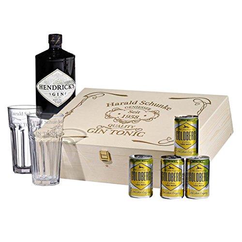 8-tlg Gin & Tonic Geschenk-Set mit Hendricks - Longdrink-Glas in Geschenkbox mit Gravur - Motiv quality gin