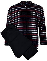 Kapart XXL Pijama a rayas negras-grises-rojas