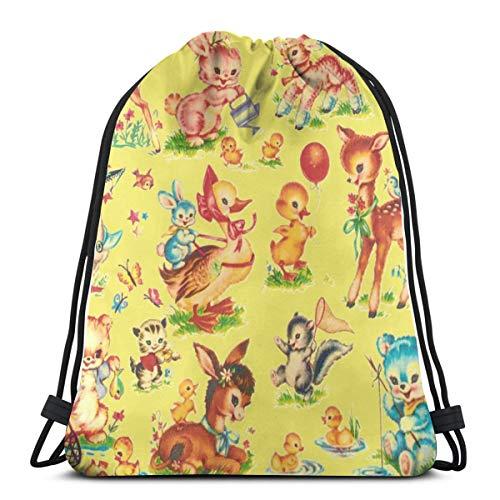 Favorite Vintage Baby Animals Paris Bebe Lt Lime_13077 3D Print Drawstring Backpack Rucksack Shoulder Bags Gym Bag for Adult 16.9