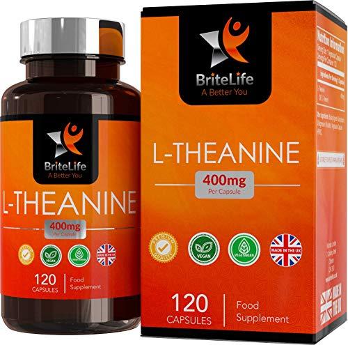BriteLife L-Teanina 400mg Pastillas para Dormir | ALTA RESISTENCIA | 120 Capsulas Vegetarianas | Mantiene la Relajación y Aumenta el Rendimiento Cognitivo
