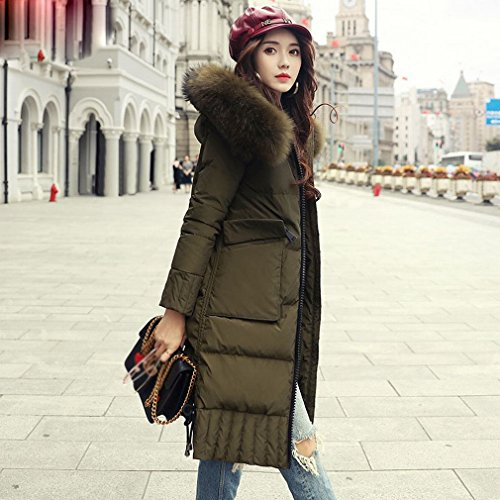 MRX Wintermode Daunenjacke Damen im Langen AbschniDes Großen Kragens Mode Jacke Winter Frauen Flut,Olivgrün,XL