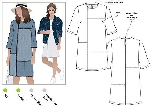Stil Arc Schnittmuster-Jema Panel Shift Kleid, Sizes 04-16 Panel Shift Dress