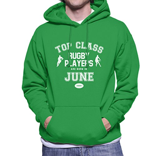 Top Class Rugby Players Are Born In June Men's Hooded Sweatshirt Kelly Green