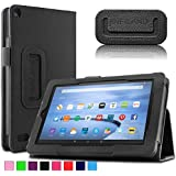 "Infiland Fire 7 2015 Case Cover- Folio PU Leather Slim Stand Case Cover for Amazon Fire 7 Tablet (will only fit Fire 7"" Display 5th Generation - 2015 release)(Black)"