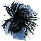 Doble crin lazo Tocado con pluma y pulverizadores Bead Stamens Juego de pelo Clip y broche Pin.