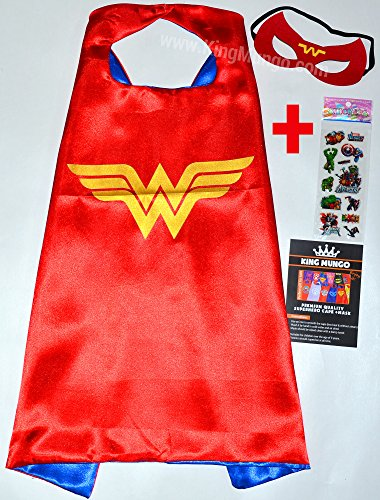 Wonderwoman Umhänge und Maske + Aufkleber! Superhelden-Kostüme für Kinder Cape and Mask - Spielzeug Verkleiden & Kostüme Mädchen Fasching oder Motto-Partys! - King Mungo - (Rocky Kostüm Jungen)